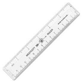 "Westcott® English and Metric Shatterproof Ruler, 6"" Long, Clear"