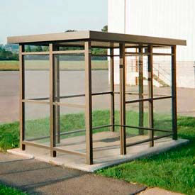 Heavy Duty Bus Smoking Shelter Flat Roof 4-Sided Right Front Open 5' x 10' Bronze by