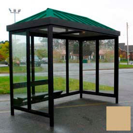 Heavy Duty Bus Smoking Shelter Hip Roof 4-Sided Right Front Open 5' x 10' Khaki Roof by