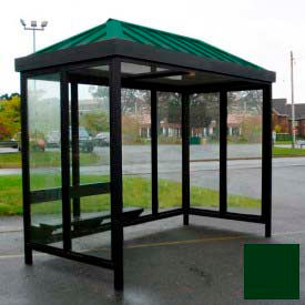Heavy Duty Bus Smoking Shelter Hip Roof 4-Sided Left/Right Front Open 5' x 10' Classic Green Roof by