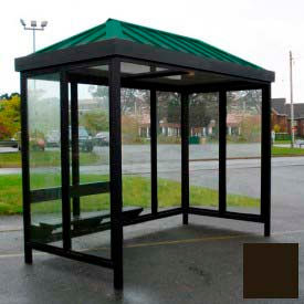 Heavy Duty Bus Smoking Shelter Hip Roof 3-Sided Front Open 6' x 12' Dark Bronze Roof by