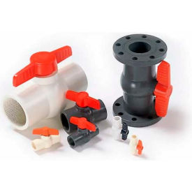 "American Valve P200f-1/2 Ball Valve, Epdm, Schedule 80, Flanged Ends, 1/2"", Pvc - Pkg Qty 10"