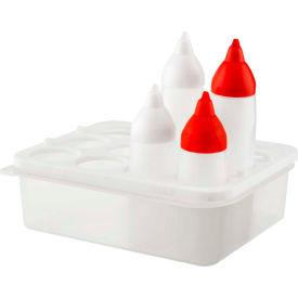 Araven 01732 - Sauce Dispenser Organizer, PP, Includes 4 Squeeze Dispensers, 1/2 Size, Translucent - Pkg Qty 6