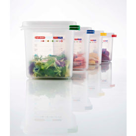 Araven 03024 - Food Container, Airtight, W/Lid, PP, 1.9 Qt., 1/6 Size, Colorclip®, Transparent - Pkg Qty 6
