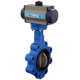 """BI-TORQ 5"""" Lug Style Butterfly Valve W/ Buna Seals and Dbl. Acting Pneum. Actuator"""