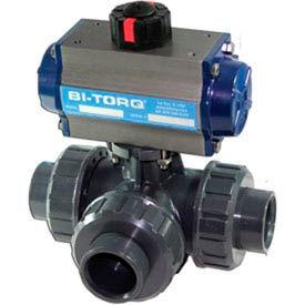 "BI-TORQ 3/4"" 3-Way T-Port PVC Ball Valve W/Spring Ret. Pneum. Actuator"