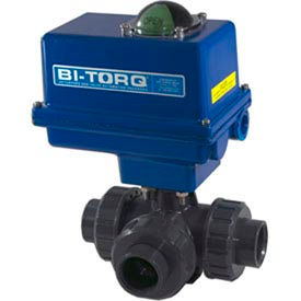 """BI-TORQ 1"""" 3-Way T-Port PVC Ball Valve W/ NEMA 4 115VAC/4-20mA Positioner"""