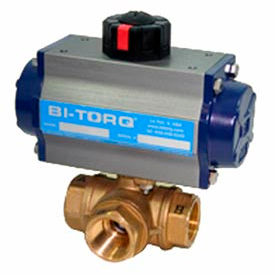 "BI-TORQ 1-1/2"" 3-Way T-Port Brass NPT Ball Valve W/Spring Ret. Pneum. Actuator"