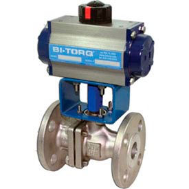 "BI-TORQ 2"" SS Split Body ANSI 150# Flanged Ball Valve W/Dbl. Acting Pneum. Actuator"