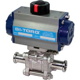 """1"""" 3-Pc SS Sanitary Clamp End Ball Valve W/Dbl. Acting Pneum. Actuator"""