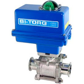 "BI-TORQ 1-1/2"" 3-Pc SS Sanitary Clamp End Ball Valve W/NEMA 4 115VAC/4-20mA Positioner"