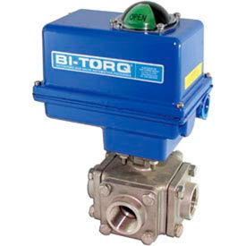 "BI-TORQ 2"" 3-Way T-Port SS NPT Threaded Ball Valve W/NEMA 4 115VAC"