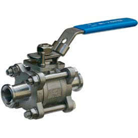 """2"""" 3-Pc SS Sanitary Clamp End Ball Valve With Manual Locking Handle"""