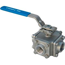 """1-1/2"""" 3-Way T-Port SS NPT Threaded Ball Valve With Lockable Lever Handle"""