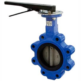"4"" Lug Style Butterfly Valve W/ Buna Seals and 10 Position Handle"