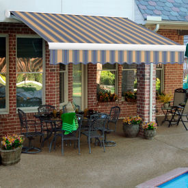 "Awntech KWM14-642-DBTD, Retractable Awning Manual 14'W x 10'D x 10""H Dusty Blue/Tan"