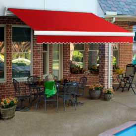 "Awntech MM18-35-R, Retractable Awning Manual 18'W x 10'D x 10""H Red"