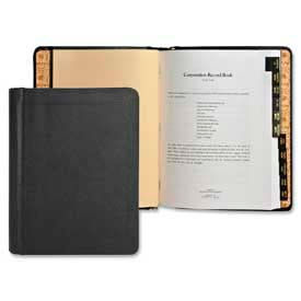 """Wilson Jones® Corporate Record and Minute Book Outfit, 8-1/2"""" x 11"""", 11 Division, Black Cover"""