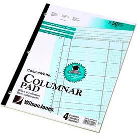 """Wilson Jones® Columnar Pad, 11"""" x 8-1/2"""", 4 Columns, Green, 50 Sheets/Pad"""