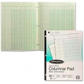"""Wilson Jones® Columnar Pad, 11"""" x 8-1/2"""", 5 Columns, Green, 50 Sheets/Pad"""