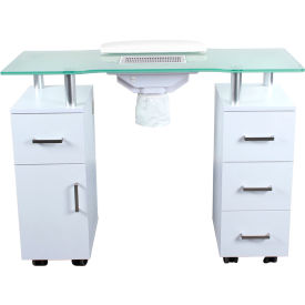 AYC Group Glasglow Salon Nail Table with Fan - White