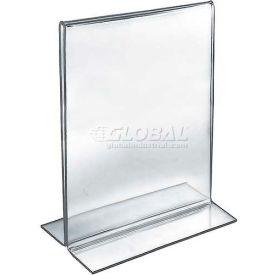 "Azar Displays 152714 Vertical Double Sided Stand Up Sign Holder, 8.5"" x 11"", Acrylic , 10-Pack"