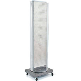 "Azar Displays 700258-WHT, Pegboard Floor Stand W/5"" C Channel Sliding, 16""W x 66""H, WH, 1 Pc"