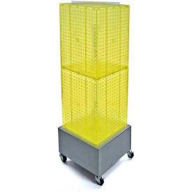 "Azar Displays 701415-YEL Interlocking Pegboard Countertop Display W/ Wheels, 14"" x 40"", Yellow"