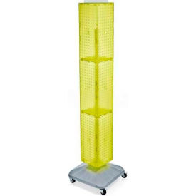 "Azar Displays 703390-YEL 4-Sided Interlocking Pegboard Display W/ Wheels, 8"" x 60"", Yellow Opaque"