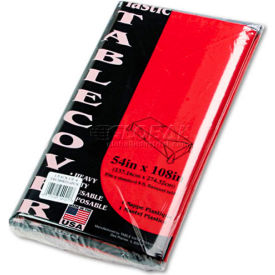 """Tablemate® TBL549RD, Rectangular Tablecover, 54""""W x 108""""L, Plastic, Red, 6/Pack"""