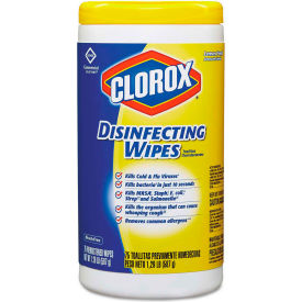 "Clorox Disinfecting Wipes Lemon Fresh 7"" x 8"", 75 Wipes/Can 6/Case - COX15948CT"