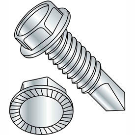 """#12-14 x 4"""" Self-Drilling Screw - Unslotted Indented Hex Washer Head - 410 Stainless Steel - 100 Pk"""