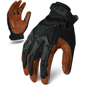 Ironclad® EXO2-MIGL-06-XXL Motor Impact Leather Gloves, Black/Brown, 1 Pair, 2XL