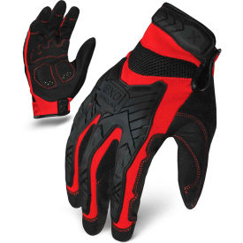 Ironclad® EXO2-MIGR-06-XXL Motor Impact Gloves, Black/Red, 1 Pair, 2XL