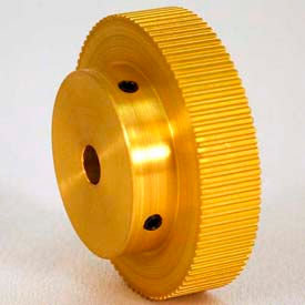 100 Tooth Timing Pulley, (Mxl) 0.08 Pitch, Gold Anodized Aluminum, 100mp037-6a4 - Min Qty 3