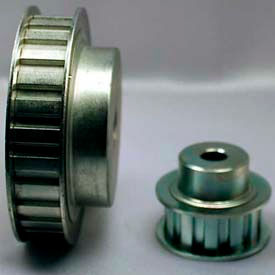 """32 Tooth Timing Pulley, (L) 3/8"""" Pitch, Clear Zinc Plated Steel, 32l050-6fs6 - Min Qty 3"""