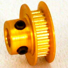 36 Tooth Timing Pulley, (Mxl) 2.03mm Pitch, Gold Anodized Aluminum, 36mp012m6fa6 - Min Qty 8