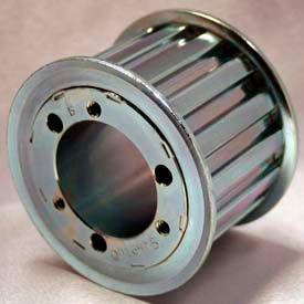 """24 Tooth Timing Pulley, (L) 3/8"""" Pitch, Clear Zinc Plated Steel, Qd24l075 - Min Qty 3"""