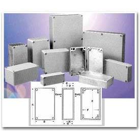 "Bud AN-1320-A Nema 4,4X,6,6P,12,13 & IP68 Die Cast Alum Enclosure 4.04"" L X 2.07"" W X 1"" H Natural"