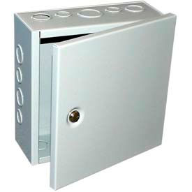 "Bud Jbh-4961-Ko Nema 1 Sheet Metal Box w/ Hinged Cover And Knockouts 10"" W X 6"" D X 10"" H -Min Qty 3"