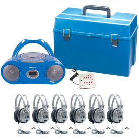 HamiltonBuhl 6 Person Listening Center w/ Bluetooth® Boombox & Deluxe Headphones