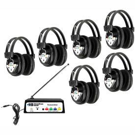 HamiltonBuhl Wireless Listening Center, 6 Station w/ Headphones & Transmitter, Multi Frequency