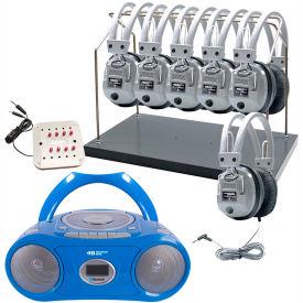 HamiltonBuhl Cassette/CD/AM-FM Listening Center 6 stations w/ Headphone Rack