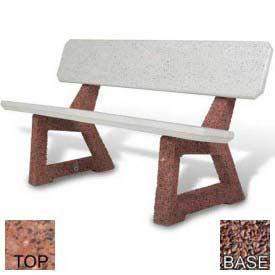 "58"" Residential Concrete Bench, Polished Red Quartzite Top, Red Quartzite Leg"