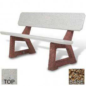 """58"""" Residential Concrete Bench, Polished Tan River Rock Top, Tan River Rock Leg"""