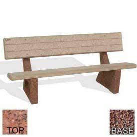 "72"" Commercial Concrete Bench, Polished Red Quartzite Top, Red Quartzite Leg"