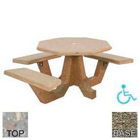"40"" ADA Octagon Picnic Table, Polished Gray Limestone Top, Gray Limestone Leg"