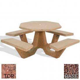 "40"" Octagon Picnic Table, Polished Red Quartzite Top, Red Quartzite Leg"