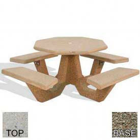 "40"" Octagon Picnic Table, Polished Tan River Rock Top, Gray Limestone Leg"