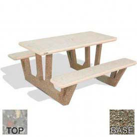 "38"" Rectangular Picnic Table, Polished Gray Limestone Top, Gray Limestone Leg"